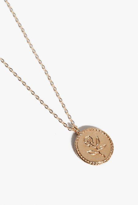 Wolf Circus Rose Coin Necklace - 14k gold plated
