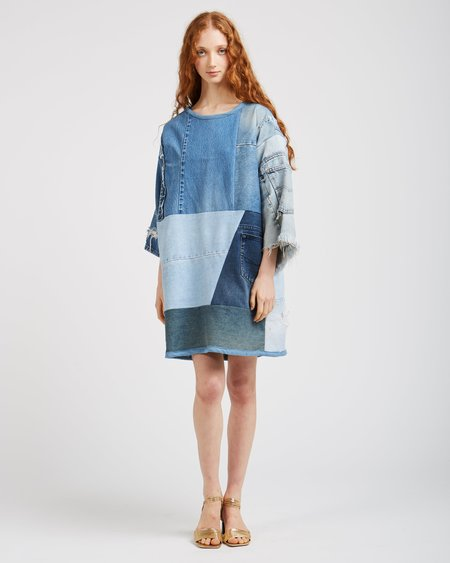 Silkdenim Sarah Denim Patchwork Dress
