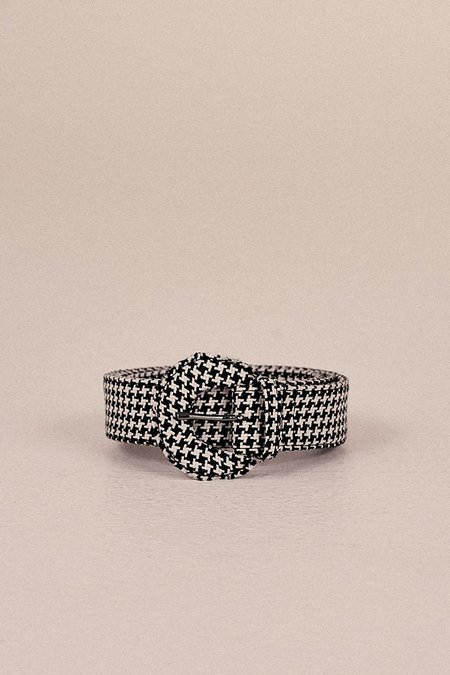 Jaggar Buckle Belt - Black Houndstooth