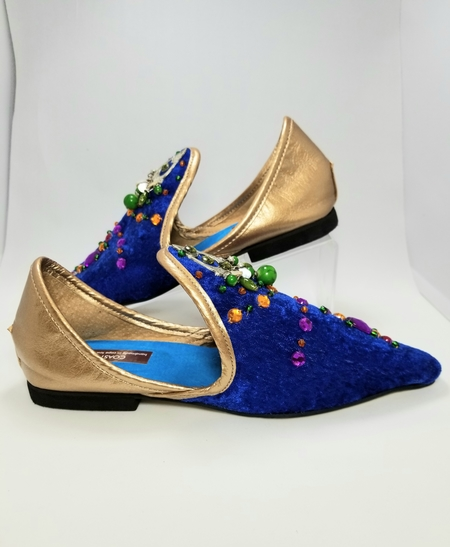 Coast & Koi Velvet Multi Color Crystal Shoes - Sky Blue