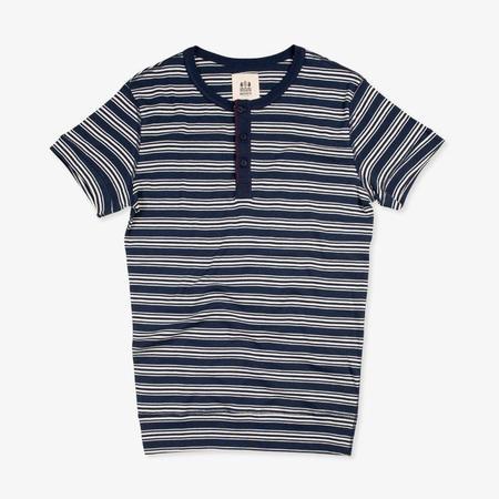 Hemen Biarritz Luzien Short Sleeve Henley - Stripe Bleu Mayol