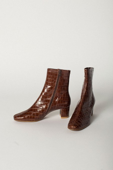 0d5a14cc54 BY FAR Sofia Croco Embossed Leather Boot - Nutella ...
