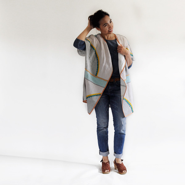 Conditions Apply COLOR BLOCK KIMONO COAT