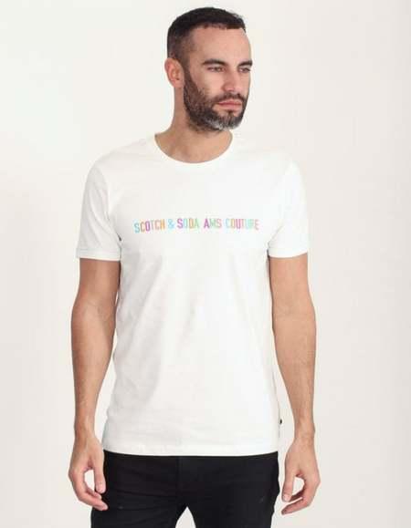 Scotch & Soda Multicolor logo T-Shirt - White