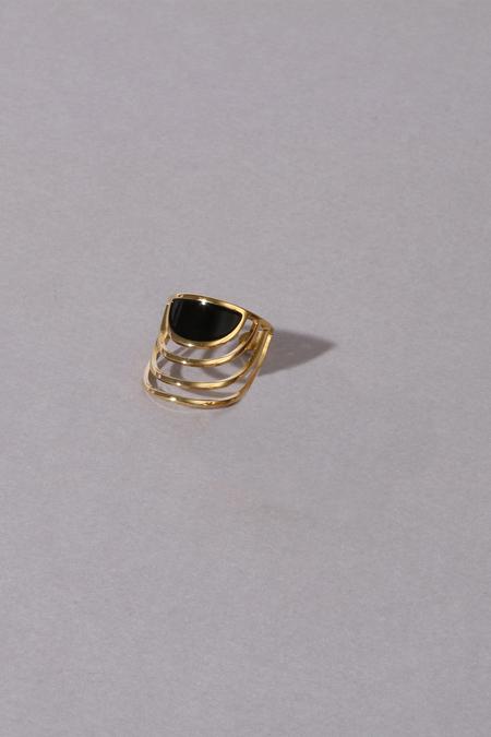 Anne Thomas Sunset Adjustable Ring - Black