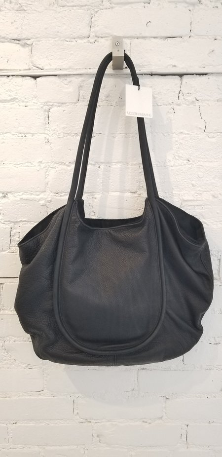Modern Weaving Black Leather Unstructured Carry - Black