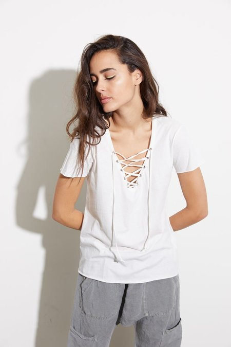 NSF Athena Front Lace Up Tee - SOFT WHITE