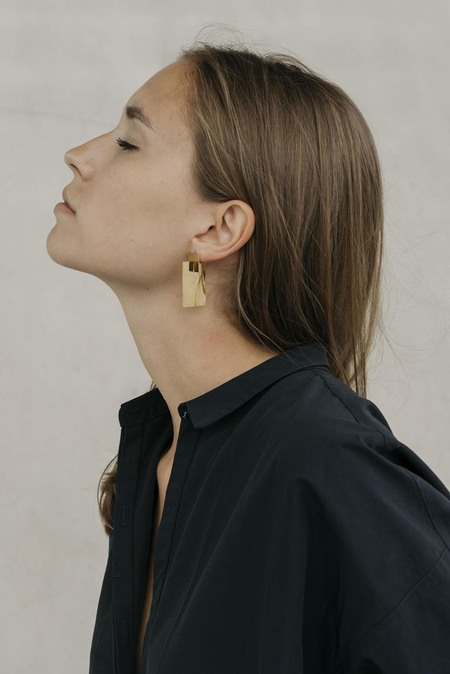 Anne Thomas Assembly Rectangle 3D Earrings - 18k Gold