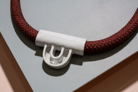 YYY 3d Tab Necklace - Pearl/Rust
