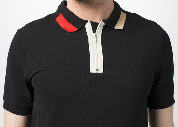 Men's Fred Perry Colorblock Collar Pique Shirt - Black