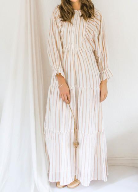 Apiece Apart Francesca Bib Tier Dress - cream