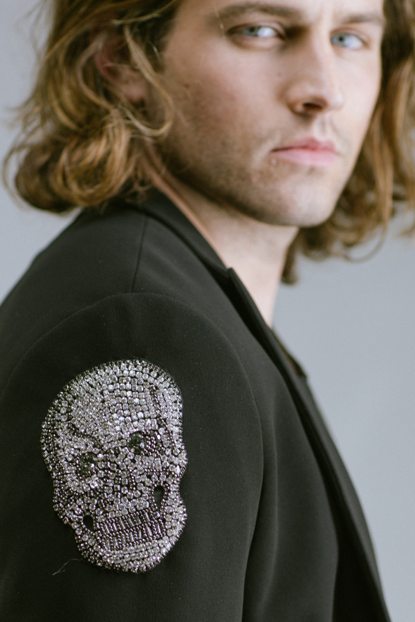 Men's Any Old Iron Crystal Skull Jacket