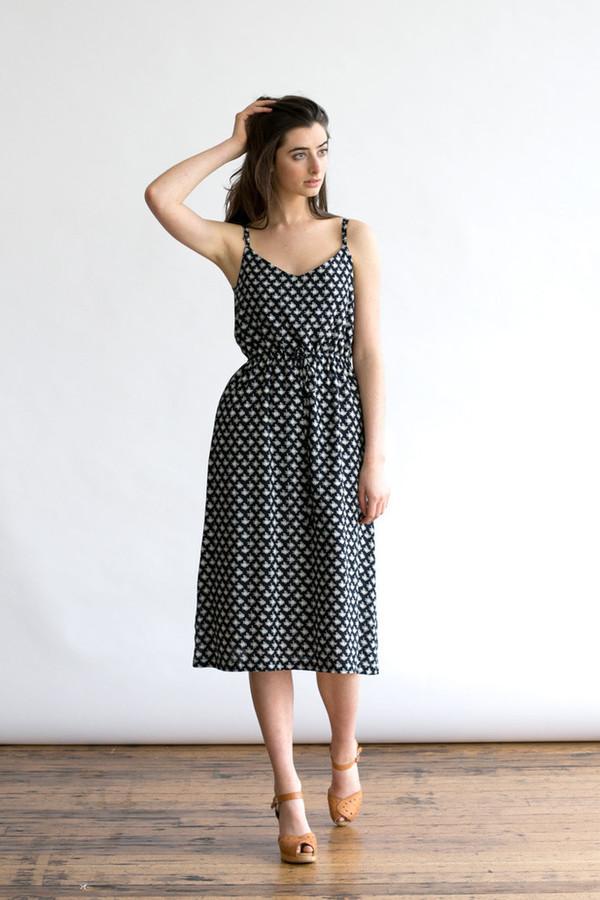 Bridge & Burn Sage Black Geometric Print Dress