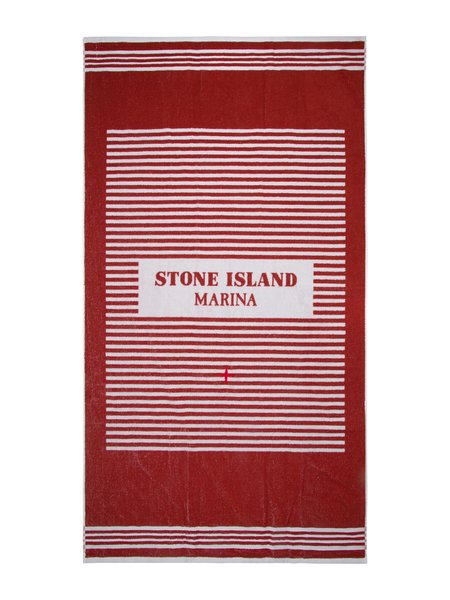 Stone Island Beach Towel - White/Red Stripe