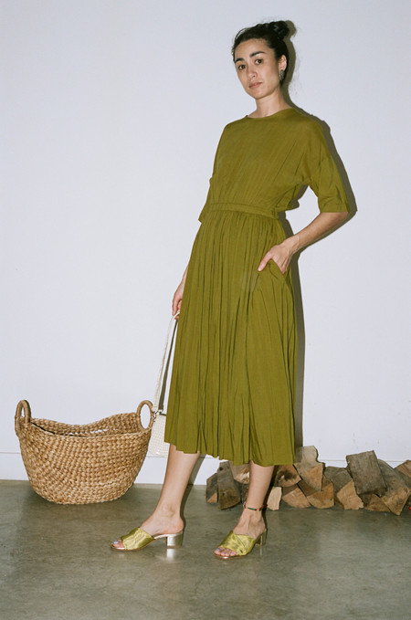Black Crane Pleated Dress - Olive