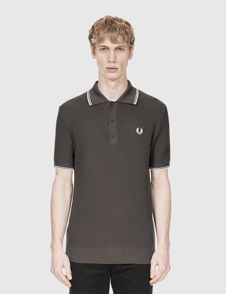 7d6052ee ... Fred Perry Textured Knitted Polo Shirt - Anthracite Black