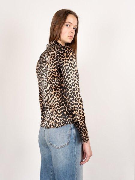 Ganni Silk Print Blouse - Leopard