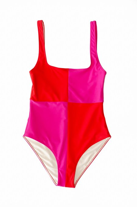 Botanica Workshop Rika Recycled Nylon Swimsuit - Scarlet/Cosmos