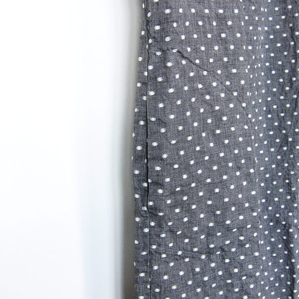 Nuthatch washed linen shirred dress - grey dot