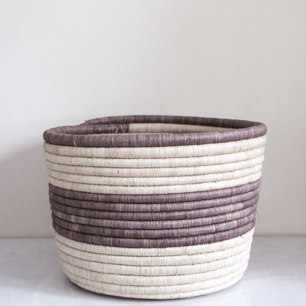 Rose & Fitzgerald Palm Striped Storage Basket, grey/natural