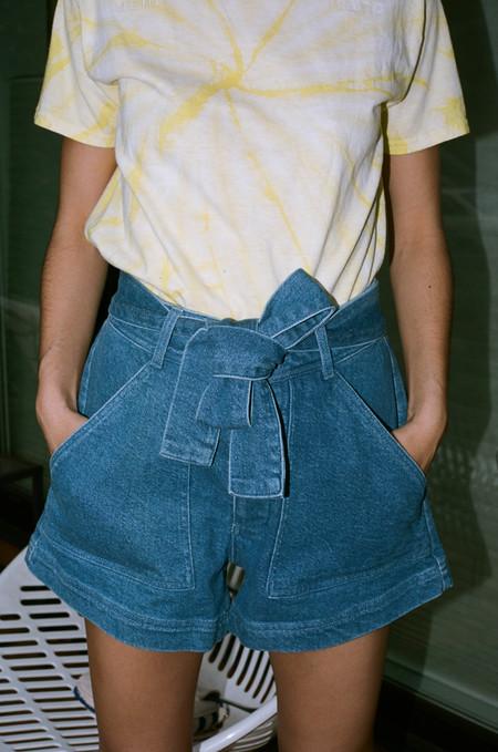Apiece Apart Merida Denim Shorts - Blue Denim