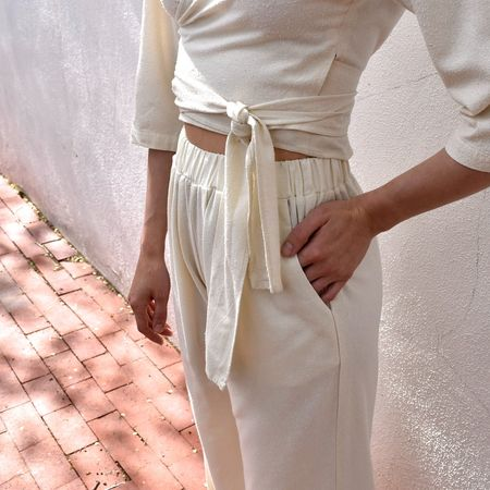 Ozma Crop Wide Leg Pant - Natural Silk Noil