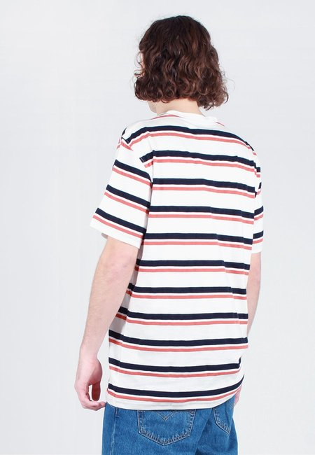 Norse Projects Niels Pique Stripe T-Shirt - pumpkin orange/dark navy