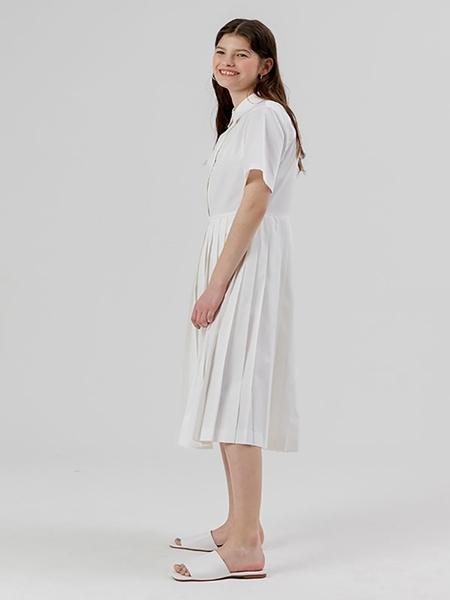 DESSERT Pleats Shirt Dress - White