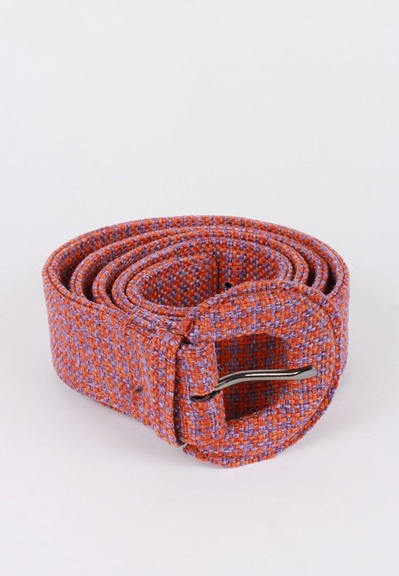 Jaggar Buckle Belt - orange houndstooth