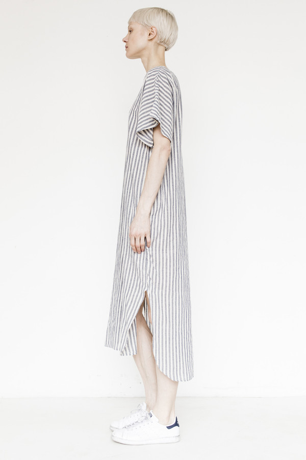 Black Crane Linen Long Dress