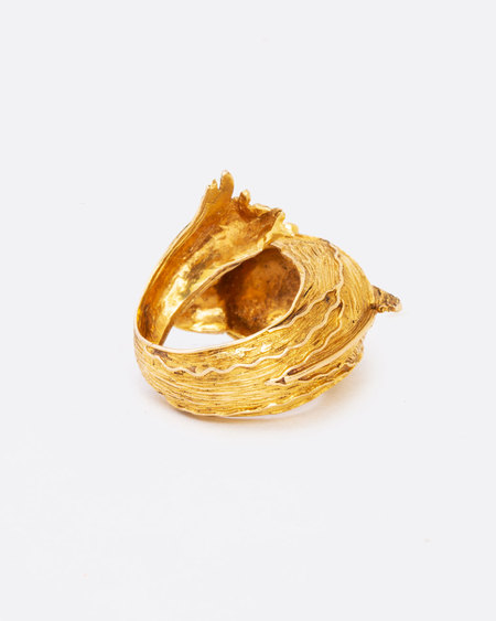 Love Adorned Vintage Dolphin Ruby and Gold Ring