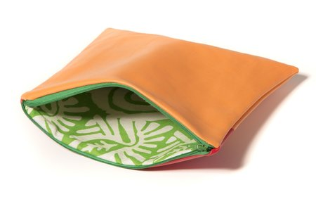 Fashion Rising Collection Vegan Leather ODLR Lined Medium Carry All - Orange/Lime