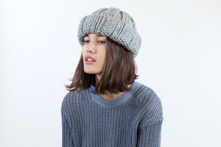 Clyde Arp Knit Hat in Grey Speckle