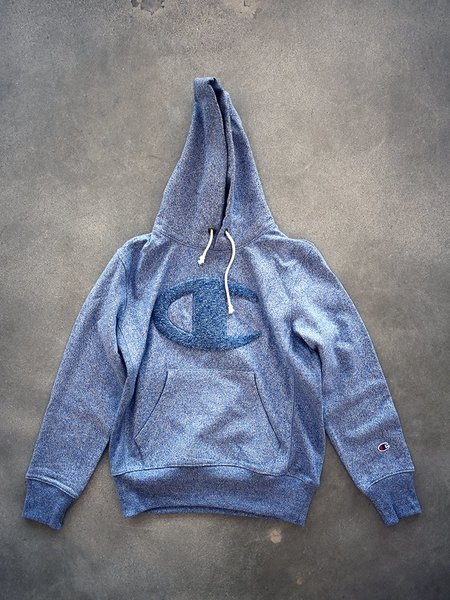 Champion Premium Reverse Weave Heavy Marl Hooded Sweatshirt - Blue Marl
