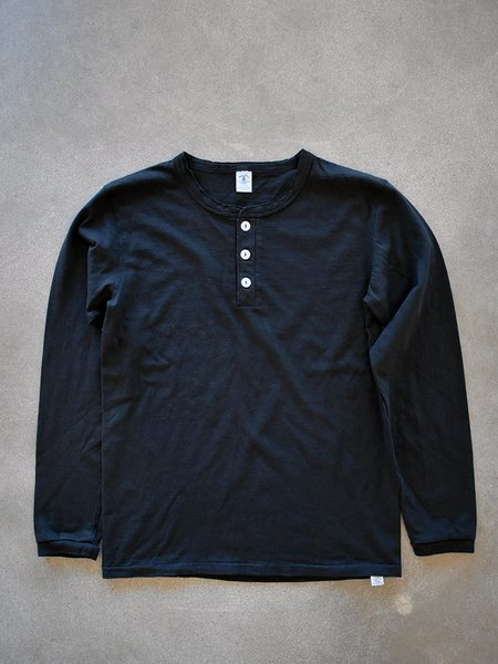 Velva Sheen Tubular Long Sleeve Henley - Black