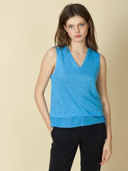 Indi & Cold Contrasting Linen Tank - bright blue