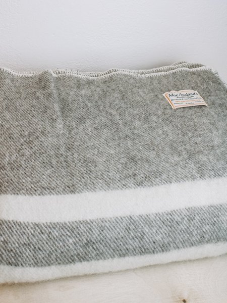 MacAusland Double Wool Blanket - Dark Grey w/ Cream Stripe