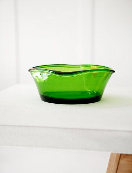 vintage Bayel French Green Glass Bowl