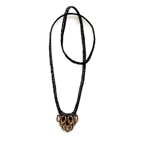 boet petit artichoke necklace - black/brass