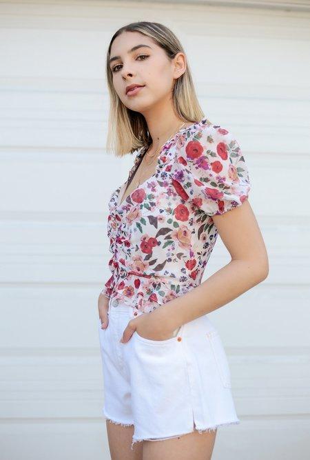 Azalea Reese Floral Top - OffWhite