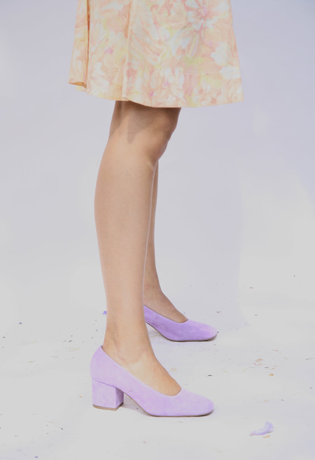 Miista Nohemi Leather Pumps - Lilac Suede