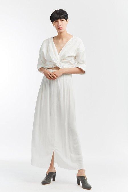 Miranda Bennett Rayon Paper Bag Skirt - White