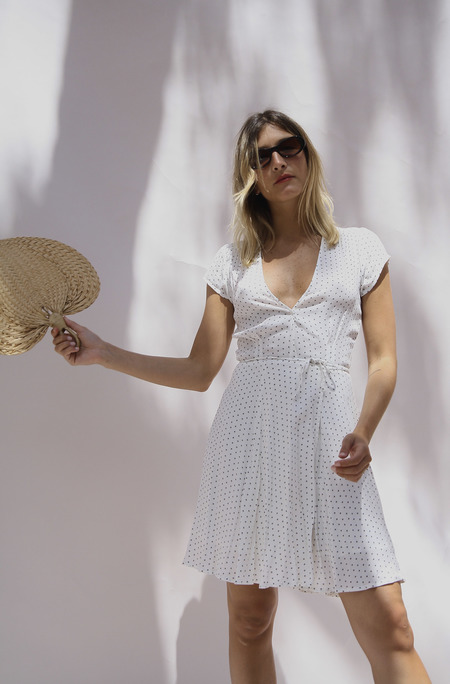 Rollas Dancer Cream Wrap Dress - White