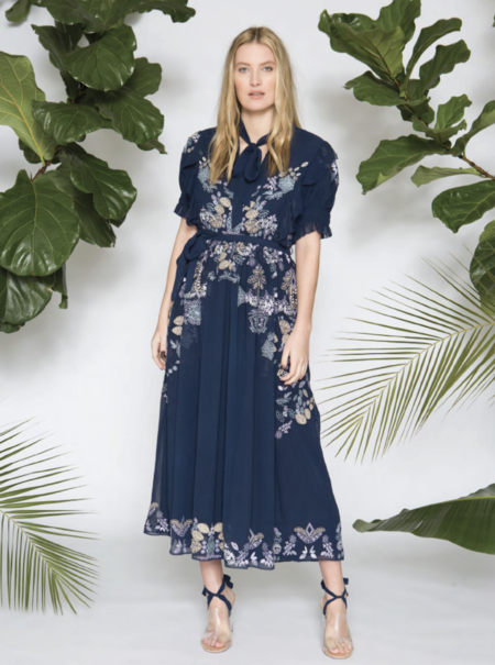 Caballero Marina Dress w/ Silk Thread Embroidery - Midnight Navy