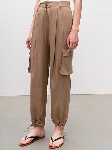 Kindersalmon Drawstring Jogger Pants - Brown