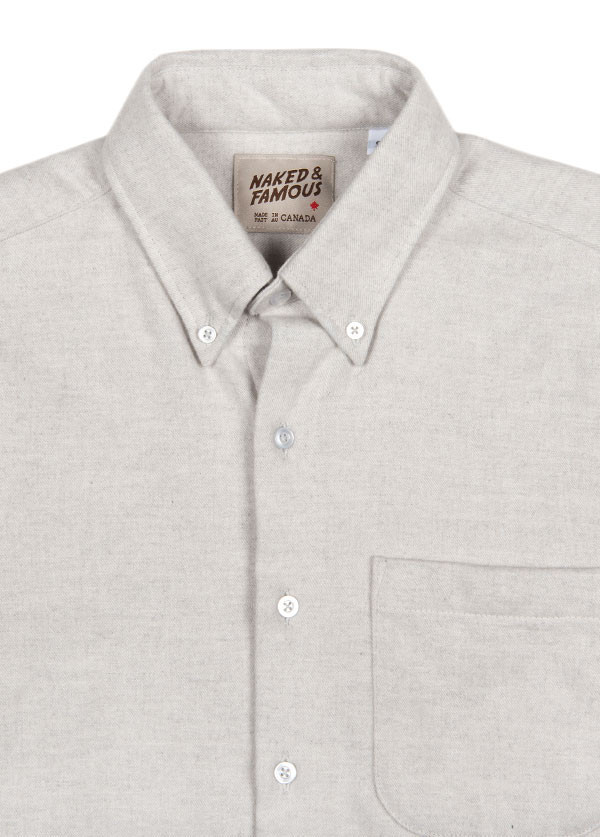 Men's Naked and Famous Denim Regular Shirt in Heavy Brushed Twill