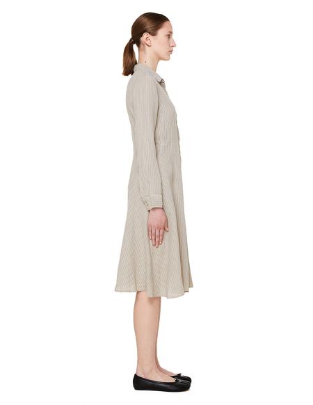 120% Lino Striped Linen Shirt Dress - Beige