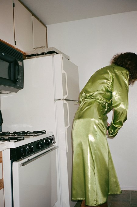 Index Series Iridescent Wrap Skirt - Candy Apple Metallic Green