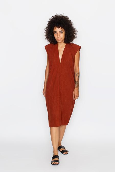 Miranda Bennett Everyday Dress, Silk Noil in Rust