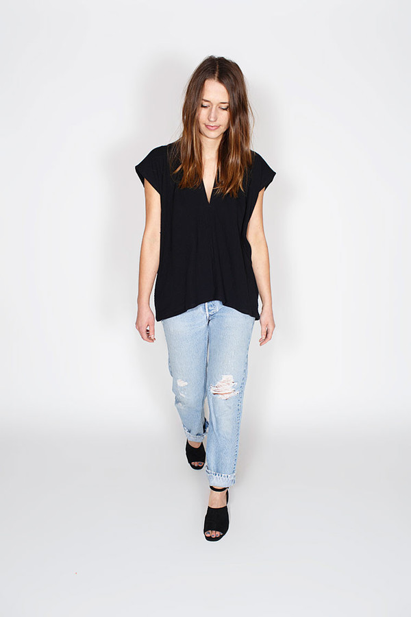 Miranda Bennett Everyday Top, Lined Cotton Gauze in Black